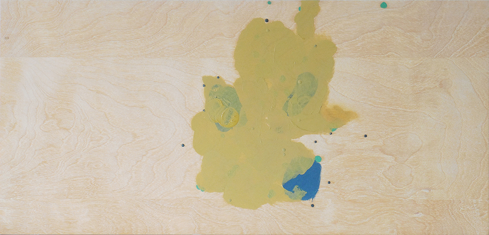 abstract oil painting by Laura Bidwa with ochre yellow, navy blue, and kelly green